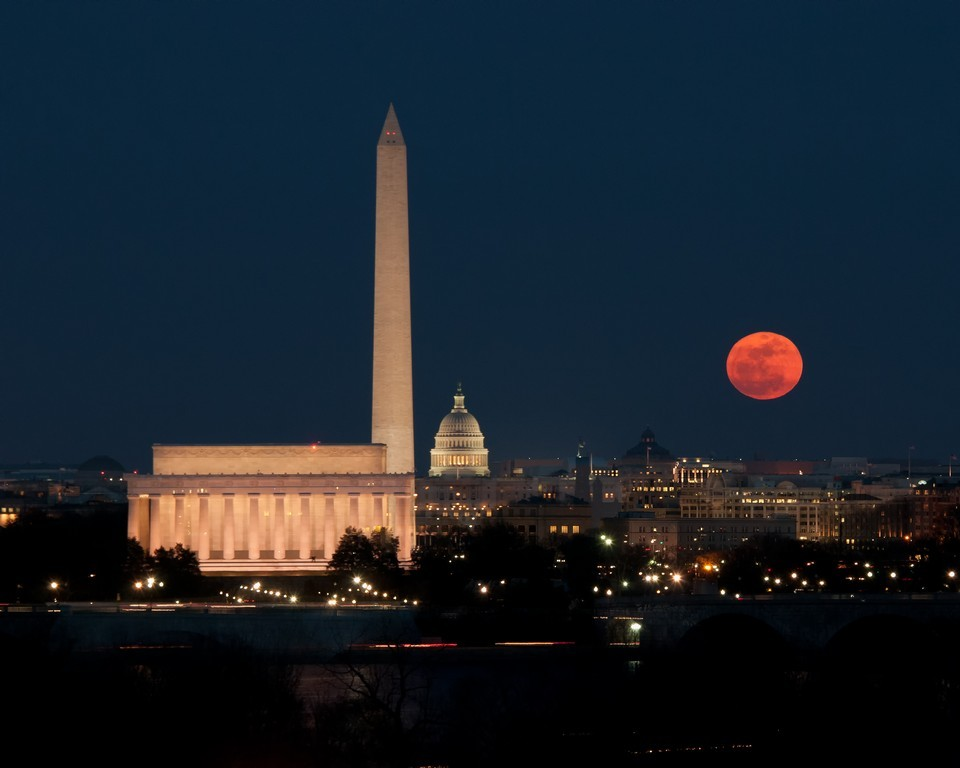 Supermoon Rising Over D.C.